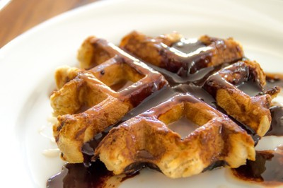 Waffle with chocolate topping