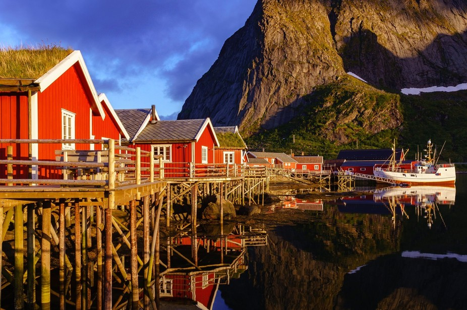 Midnight sun on the Lofoten Islands, Reine, Norway. The first day on the islands was pretty cloud...