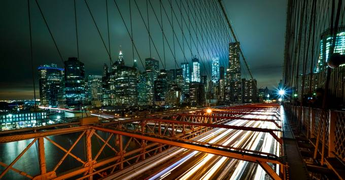 Manhattan from Brooklyn Bridge by markLadanan - City In The Night Photo Contest