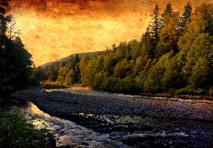 Sun setting at the Sandy River rendered as an old painting