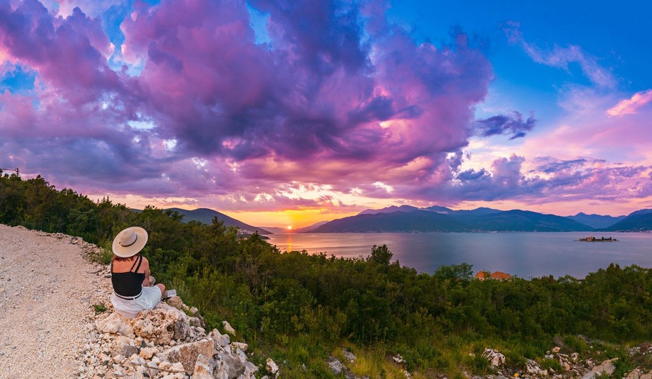 Unforgettable Moment - beautiful colorful sunset in Montenegro!