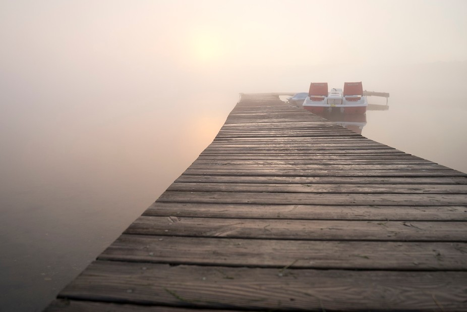 Got up early while on holiday, the fog over the lake was so thick I couldn't see past th...