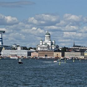 Capital of Finland Helsinki seen from Baltic Sea