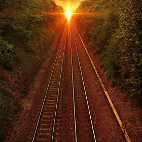 golden sunset on the tracks