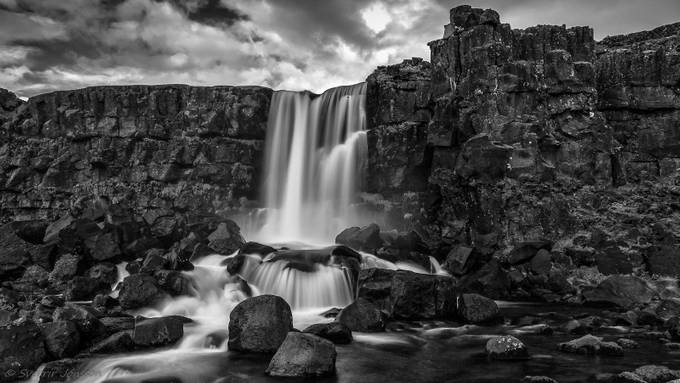 xarárfoss s-h (1 of 1) V by sverrirjonsson - Black And White Landscapes Photo Contest