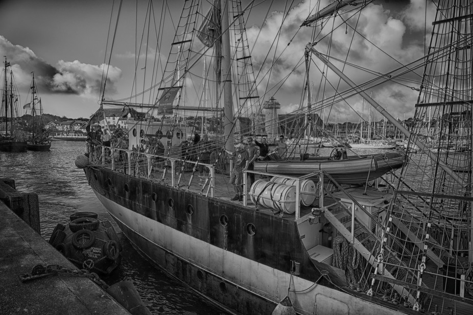 """2016 Tall ships at Falmouth Cornwall, """"Pelican of London"""" leaving dockside. This image has been altered but still retains very high definition. would make a good large print."""