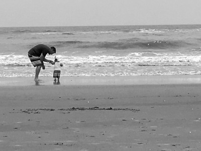 Introducing the Ocean - Father & Son on Beach