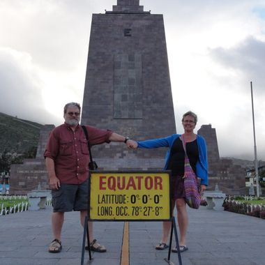 The real equator is a about 600 me to the right behind a big fence.   The marvels of of new technologies.