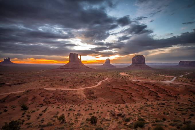 Sunrise in Monument Valley by kish71 - A Road Trip Photo Contest