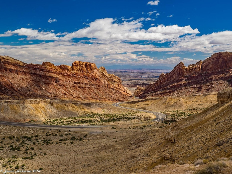 Driving west along I-70 in Utah towards Moab.  There is a scenic view pulloff that allows this ma...