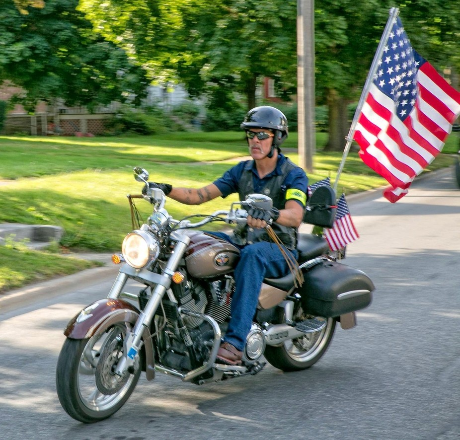 Motorcyclist In a Funeral for a US Marine