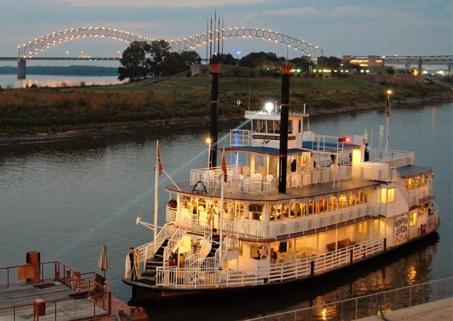 One of several riverboats that dock at the Beale Street Landing in Memphis.