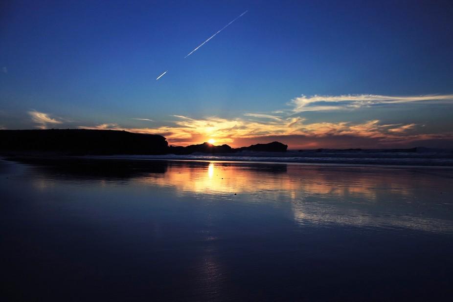A sunset in Jarugo beach, Fuerteventura, Canary Islands.