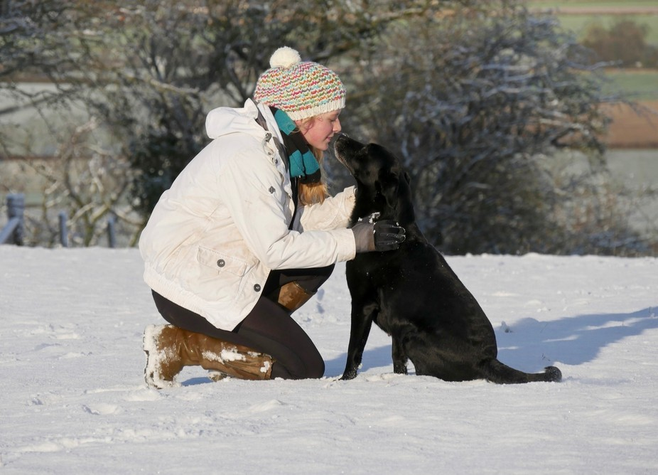 Whilst photographing some dogs in the snow, I managed to capture this moment of pure love