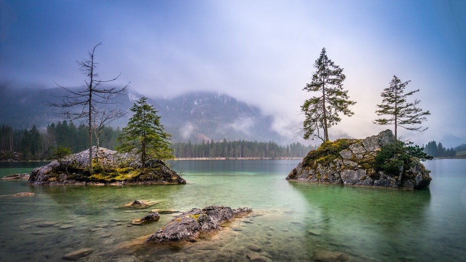 a very peaceful moment at hintersee, bavaria, germany