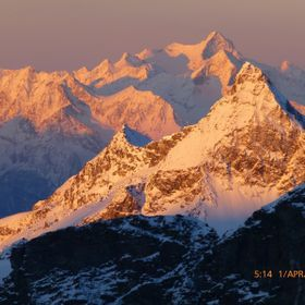 Taken from D'Ayaz Hut on glacier 3420m.  Golden peaks.