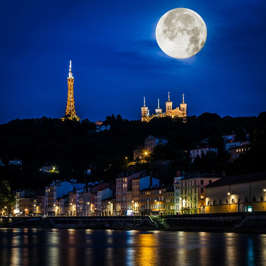 Fourvière at Lyon and the Moon !!! by FredericMONIN - Getting Creative Photo Contest