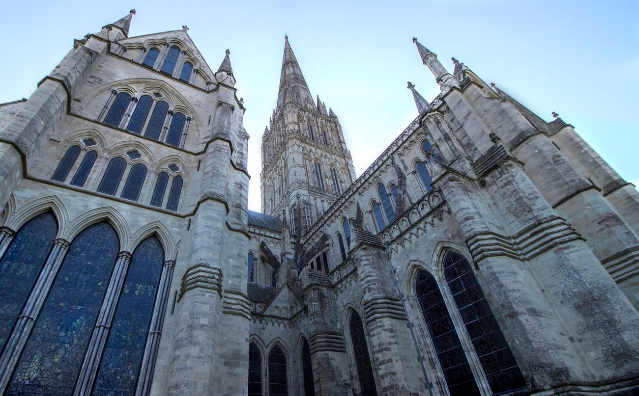 Part of Salisbury Cathedral in Wiltshire England.  The cathedral is a 134th century AD building and a magnificent structure.