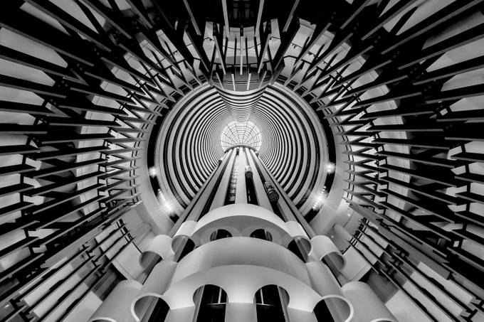 Holiday Inn Atrium (Black and White) by SeowSweeMeng - Compositions 101 Photo Contest vol4