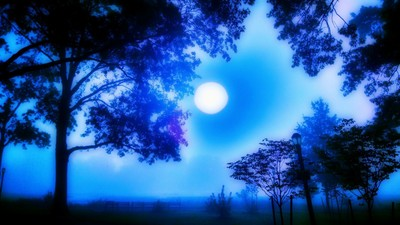 Moon blue cool through the fog