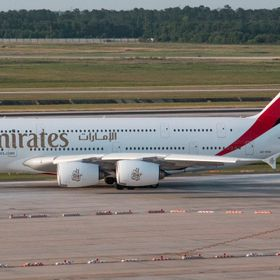 Emirates A380 at Bush Intercontinental. Emirates has since changed equipment and now only flies the 777 into Bush.