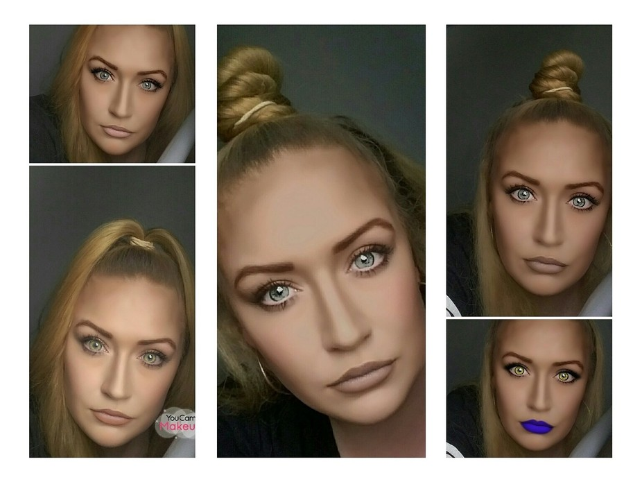This was a makeup  collage where I did makeup but used an app to change the colour of my eyes too...