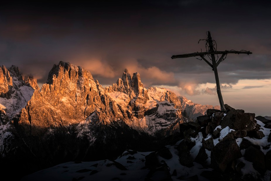 A beautiful and haunting spot above the Passo Rolle with superb views of the Pala Dolomites.