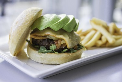 Munster Bacon Cheeseburger with Avocado and Fries