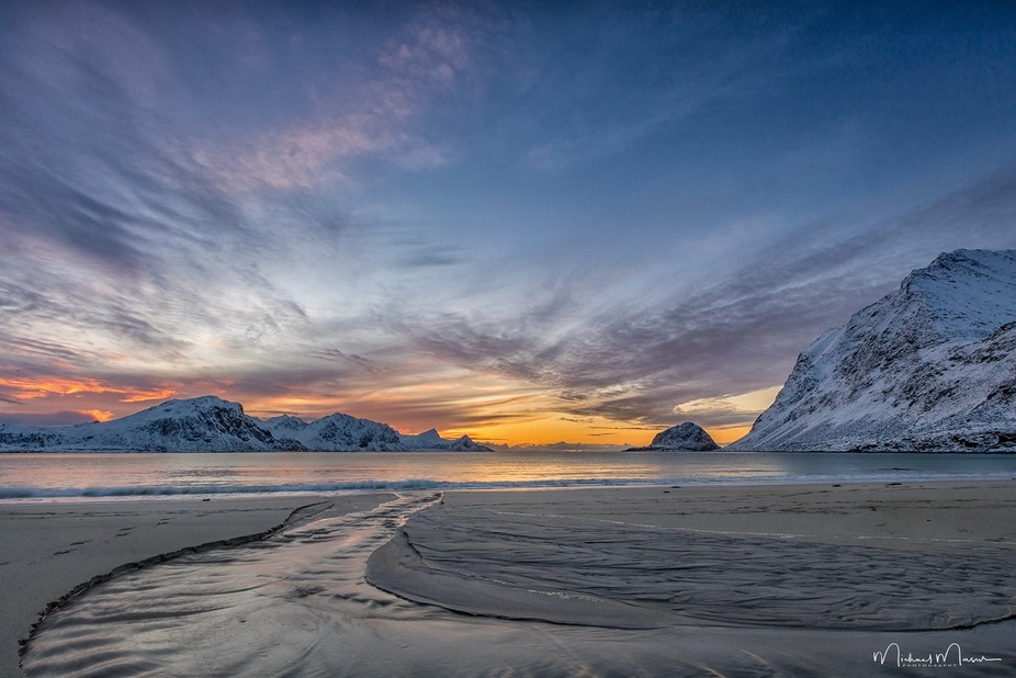 Haukland Beach, Lofoten (Norway), in February 2016.