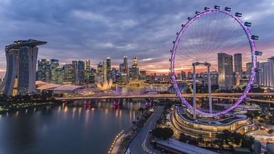 Night view of Singapore Flyer