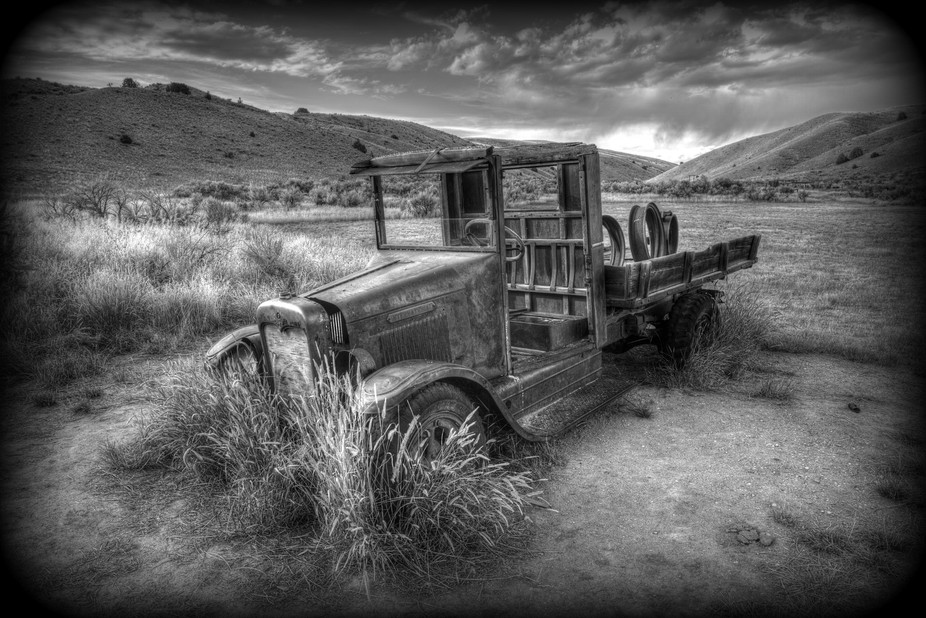 This old International pick-up sits in the ghost town of Bannack, Montana. Year after year this o...