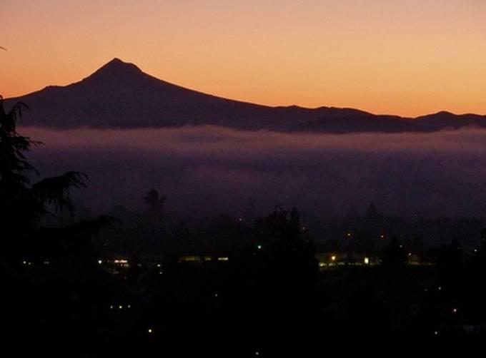 Portland's Eyeview of Mt. Hood at Sunrise