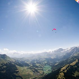 This picture was taken some minutes after Take-Off with my Paraglider from the Wispile Mountain in Gstaad, Switzerland.