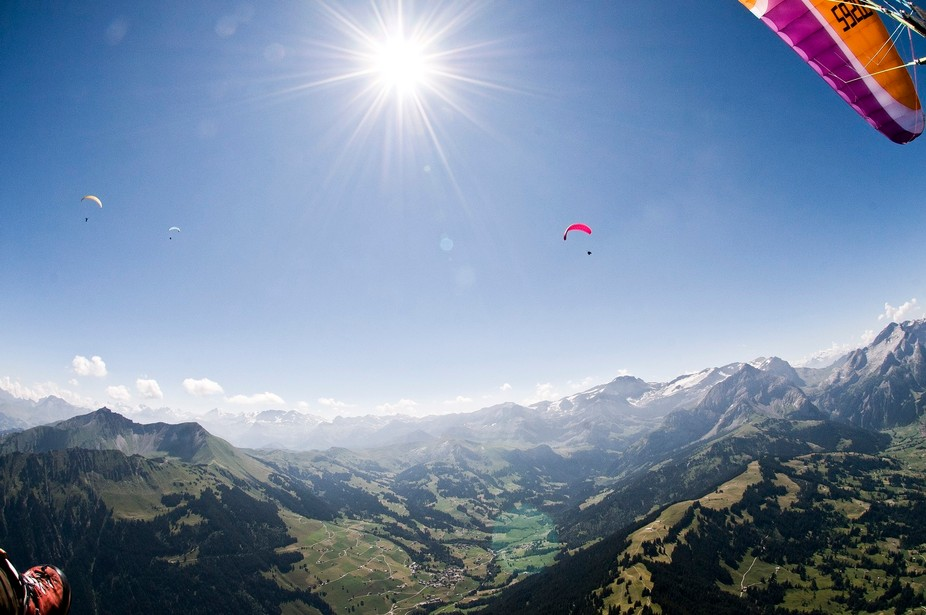 This picture was taken some minutes after Take-Off with my Paraglider from the Wispile Mountain i...