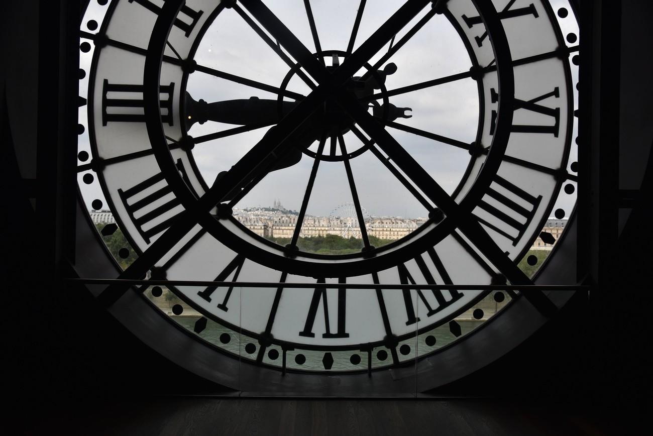 Looking through the clock fact toward Montmartre.