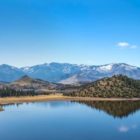 Panorama of valley reservoir lake called Lake Shastina by Mount Shasta in northern California