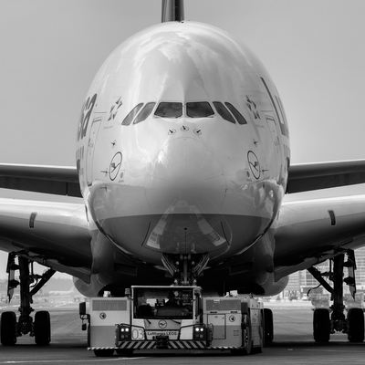 Heavy airbus A380 being towed