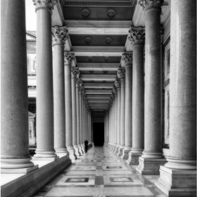 The covered portico of Basilica of Saint Paul Outside the Walls, Rome