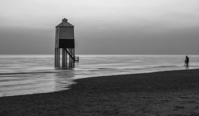 Lower lighthouse high tide by dougplume - Black And White Architecture Photo Contest