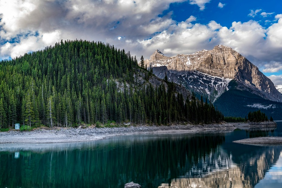 Took this photo while at Upper Lake Kananasksis. There is a moose in this image but you will need...