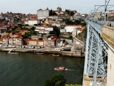 Porto City Portugal, View of Ribeira from D Luíz I Iron Bridge