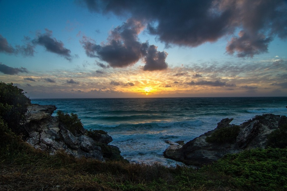 Early morning sunrise on the east side of Isla Mujeres
