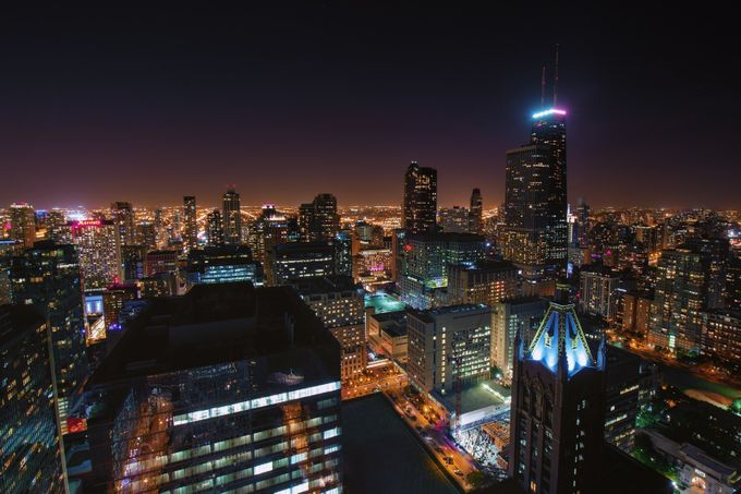 Chicago at Night by kish71 - Rooftops Photo Contest 2018