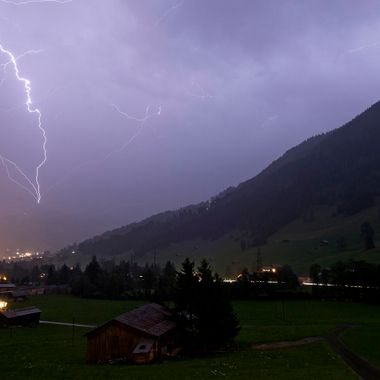 During a thunder-storm in my home-town Gstaad, Switzerland.