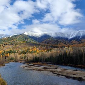 A lovely scenic view in October along the TransCanada Highway overlooking the Elk River in British Columbia.