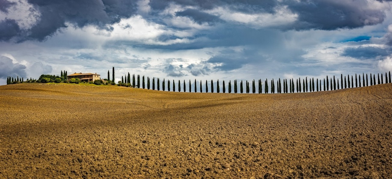 Typical Tuscan hilltop farm with it's cypress lined drive