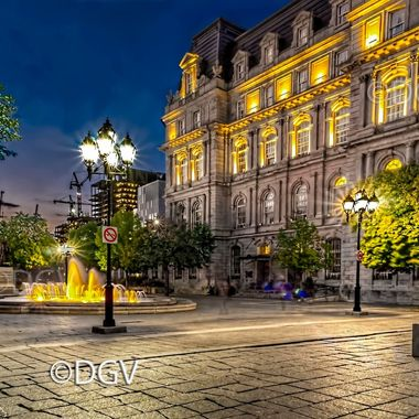 Montreal old City Hall & fountain at Dusk