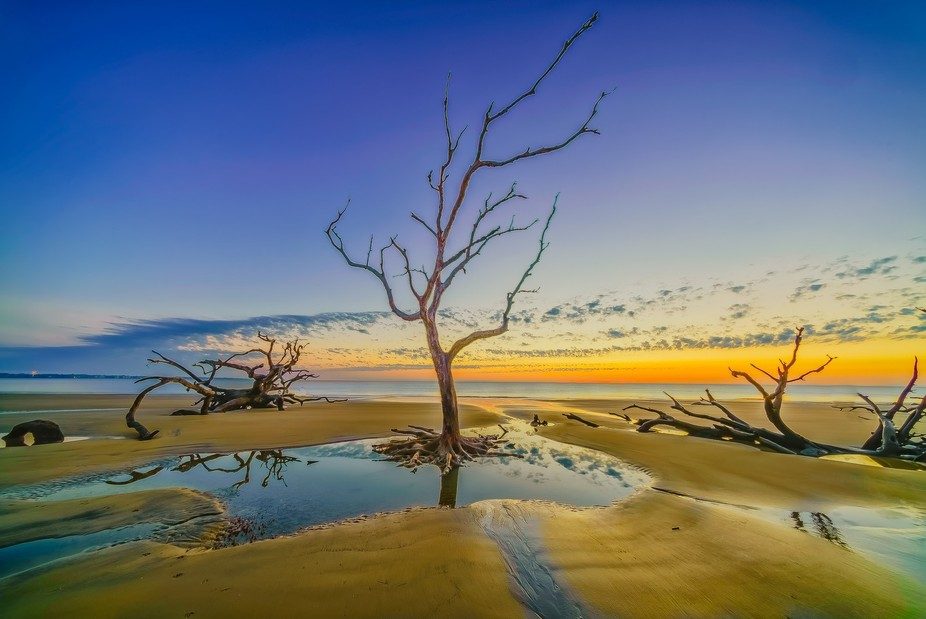 During October's full moon a Super Low Tide at sunrise leaving still waters behind durin...