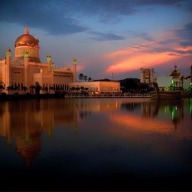 This is one of the iconic mosques in the tiny state of Brunei. I shot it in early evening.