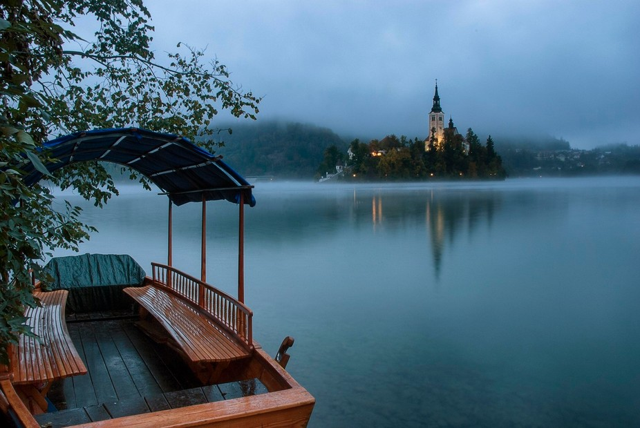 Early morning mist on Lake Bled around Bled Island, Slovenia